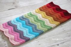 Another stunning project from Repeat Crafter Me: Rainbow Ripple Crochet Blanket in Vanna's Choice.