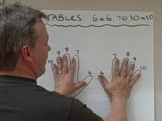 WHOA... I dont how this guy figured this out, but he is a genius. Trick to multiplication tables 6X6 and above. - I knew the 9s trick, but have never seen this one before!