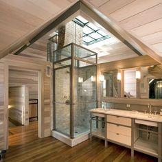 Amazing bathroom in a converted attic master suite