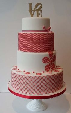 red pattern, cake toppers