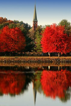 Turner Falls, Massachusetts. church, new england, turner fall, autumn, color, massachusett, beauti, fall trees, place