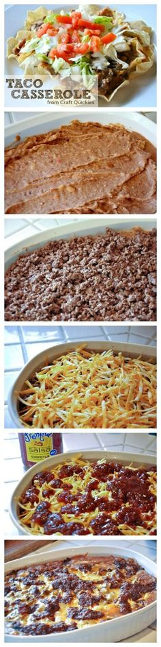 Taco Casserole is a simple layered dish that comes together in a snap for the whole family to enjoy!