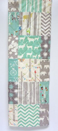 Modern-Baby Quilt-Organic Rustic Baby Boy Bedding-Birch Fabric-Chevron-Gray-Grey-Aqua-Woodland Animal-Elk-Elephant-Deer Baby Blanket on Etsy, $116.99 CAD