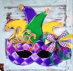 Mardi Gras Door Hanger Mardi Gras Wreath by BluePickleDesigns, $45.00