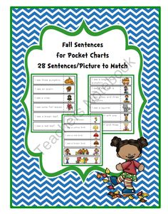 Fall Sentences from Preschool Printables on TeachersNotebook.com -  (8 pages)  - 28 sentences with picture to match-Great for pocket charts!