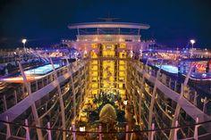 When night falls, the ship lights up beautifully! #cruising #travel