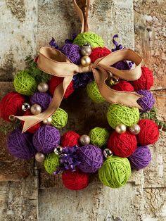 How cute is this DIY: Yarn Ball Wreath?! #QVCholidayLove!!!!!love it!  i need a wreath.