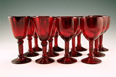 Image detail for -Retro Art Glass: Ruby red blown glass stemware set of 12 vintage