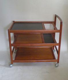 Danish Modern Teak Bar Cart / Serving Cart