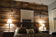 Wooden pallet wall and bed