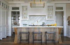 Stikwood: Reclaimed Wood Panels Perfect for DIYers distressed wood, rustic kitchens, old wood, white cabinets, rustic wood, kitchen islands, kitchen designs, white kitchens, barn wood