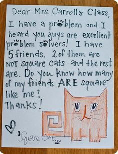 @Alisha Dosani how fun is this! Mailbox math- the students will receive a letter from a story character asking them to solve a problem.  The students solve the problem in their CGI notebook and then we write a letter back to the story character explaining our answer. This would be perfect to spice up CGI! math problems, cat, math literacy, book characters, math problem solving, word problems, math books, story characters, first grade