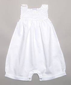 White Crocheted Romper - Infant by Hug Me First #zulily #zulilyfinds
