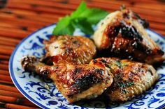 Grilled chicken pieces, marinated first, then glazed with a simple fresh mint and honey glaze.
