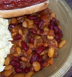 Old Settlers Baked Beans* One of our favorites. Secret ingredient is Ground beef. These beans are slightly heavier than most but they are very good! I like to switch out the beans and sometimes  I add a little sausage along with the ground beef.  This is a most requested recipe so it gets a 5 star rating.