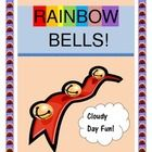 """PLAY """"RAINBOW BELLS!""""  Bring a bright COLOR GAME to a cloudy day!  Kids make their own bell shakers in rainbow colors, followed by an ACTIVE Group Game with strong rhythm and rhyme patterns -- so good for early literacy learning.  Specific instructions for game play and simple song notes are included.  Pipe cleaners and a bag of bells are all you need to make some COLORFUL music!  (6 pages)  More """"fun and games"""" from Joyful Noises Express TpT.  $"""