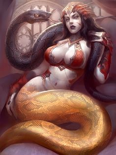naga.... son serpientes semidivinas hindúes con torso y cara humana, generalmente de mujer.