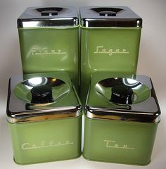 Avocado green 70's metal kitchen canister set #kitchen #kitchengadgets