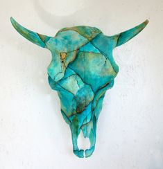 Cow Skull Turquoise Painted Art Sculpture Cowboy Western Decor. $350.00, via Etsy.