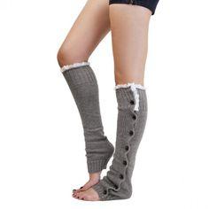 Light Grey Button Down Leg Warmers