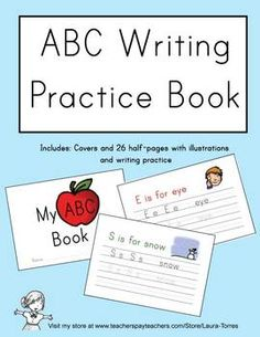 ABC Writing Practice Book. Upper and lower case letters, word practice and cute illustrations for each letter.