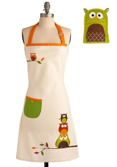 owl apron & oven mitt