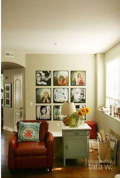 chair, color pictur, color schemes, family photos, pictur display, photo displays, picture displays, photo galleries, decor idea