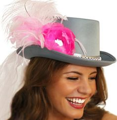 Floral Bride Top Hat with Veil  Grey Top Hat with by ABridalShop, $39.99