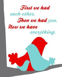 Girls Artwork, Nursery Art, First We Had Each Other, Bird Family 8x10, Red Turquoise Gray on Etsy, $18.00