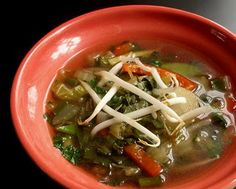 Asian vegetable soup - fresh ginger makes this soup just the thing when you have a scratchy throat.