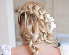 Beautiful waterfall braid with loose curls