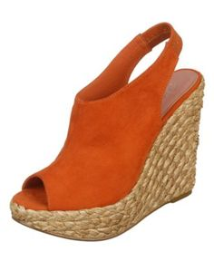 """The Carlos by Carlos Santana Bali peep toe wedges will brighten up any outfit.  1-1/2"""" espadrille platform, 4-1/2"""" espadrille wedge heel"""