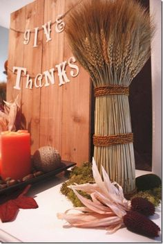 Wheat bundles, Thanksgiving Mantel Decor Ideas #thanksgiving #mantel #decor