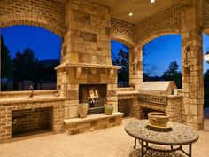 Beautiful outdoor fireplace and patio