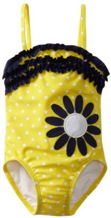 Hartstrings Girls 2-6X Toddler Yellow Dot One Piece Bathing Suit,$40.00