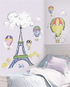 Cute idea for a child's bedroom! pari, wall decals, disney princess, sticks, kid rooms, nurseri, wall stickers, hot air balloons, girl rooms