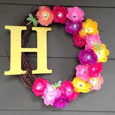Updated monogram initial wreath with flowers and dragonflies.