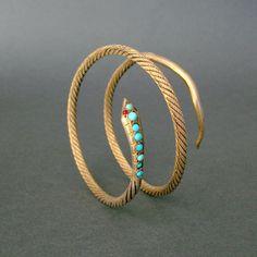 Antique Snake Bracelet . Gilt Egyptian Silver . Turquoise and Garnets .