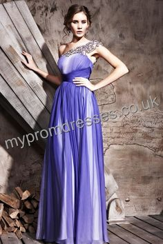 Floor length One-shoulder Blue Satin A-line Evening Dress  http://www.mypromdresses.co.uk