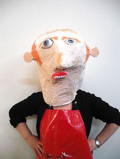 masqu, art educ, paper mache, happi head, cardboard head, mask, art walk, big head, art rooms