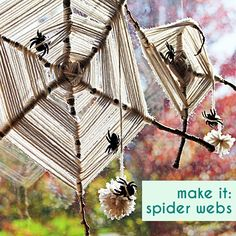 DIY Halloween Crafts for Kids - God's Eye Spider webs with Yarn, Sticks, and plastic spiders