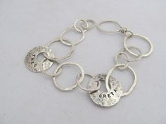 Personalized hand stamped large link hand fabricated sterling silver bracelet, metalsmith jewelry by JoDeneMoneuseJewelry, $110.00