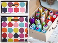 I love colorful craft supplies! She has some clever #storage solutions in her #craft #room.