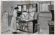 """From cluttershop on flickr Hoosier Cabinets Save Nerves    From """"You and Your Kitchen, from Experience by Mrs. Christine Frederick,"""" The Hoosier Manufacturing Co., New Castle, IN: 1915."""