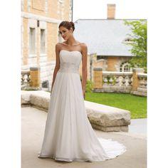 Find simple elegant long chiffon bridal wedding dress only $145.95