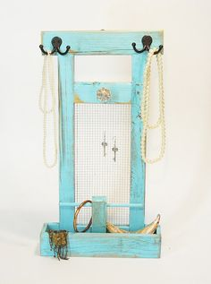 Jewelry Stand with Tray Base - Necklace hanger bracelet holder earring organizer turquoise natural white black Free Standing or Wall hanger