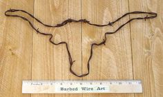 Longhorn Hand made rustic barbed wire art by BarbedWireArtist, $19.50
