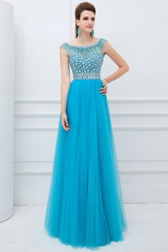 2014 Elegant Scoop Neckline Cap Sleeve Prom Dress Beaded Bodice With Long Tulle Skirt USD 159.99 TPPF9P6SEP - TonyPromDresses.com