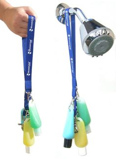 Great camping idea! Make the trip to the showers a little easier, toiletries on a lanyard. Easy to carry, easy to hang. - This would be great for a hotel stay where sharing rooms and the ledges are always filled :)
