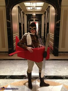 Amelia Earhart #Halloween #Costume  with red airplane